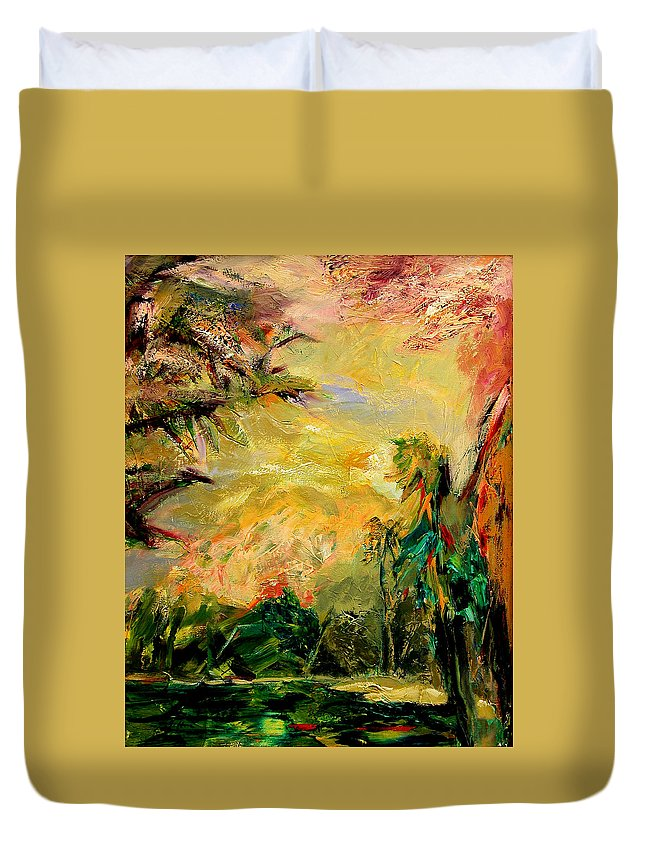 Tropical Paintings Duvet Cover featuring the painting Steamy Cove by Julianne Felton