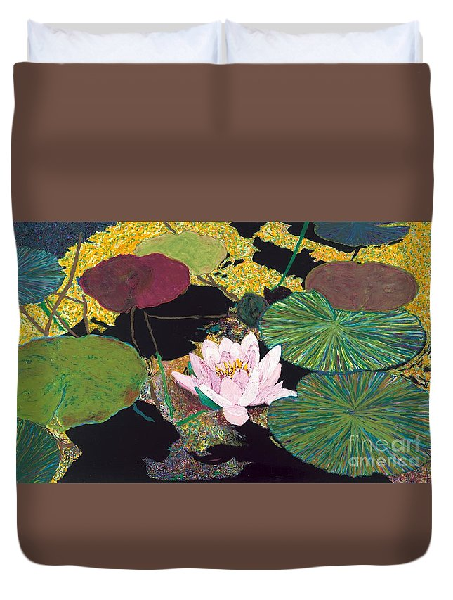 Landscape Duvet Cover featuring the painting Steamy Pond by Allan P Friedlander