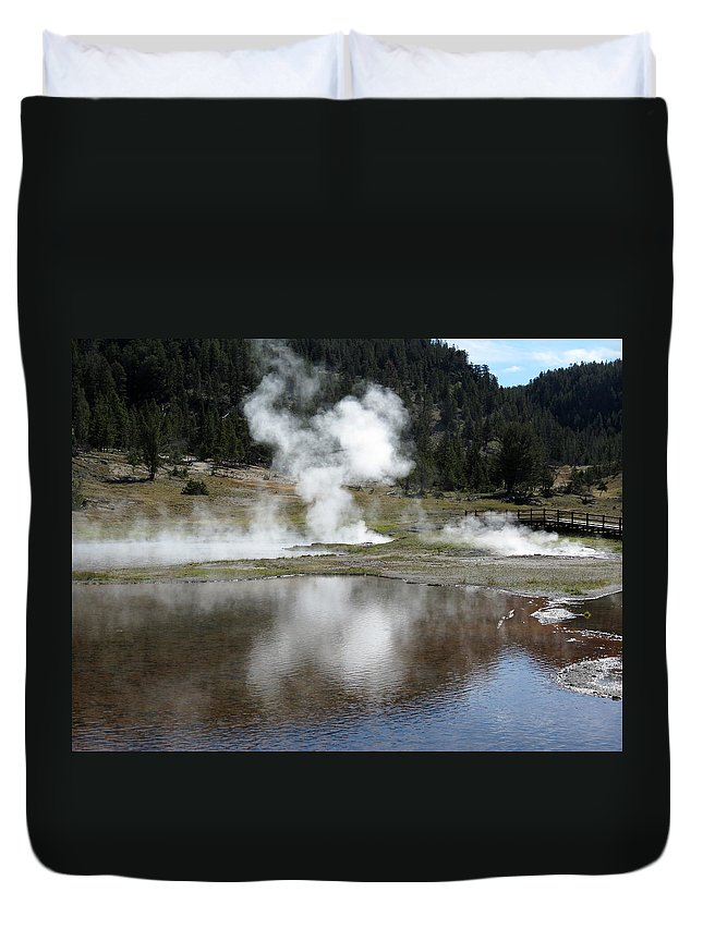 Yellowstone National Park Duvet Cover featuring the photograph Steamy Reflections by Laurel Powell