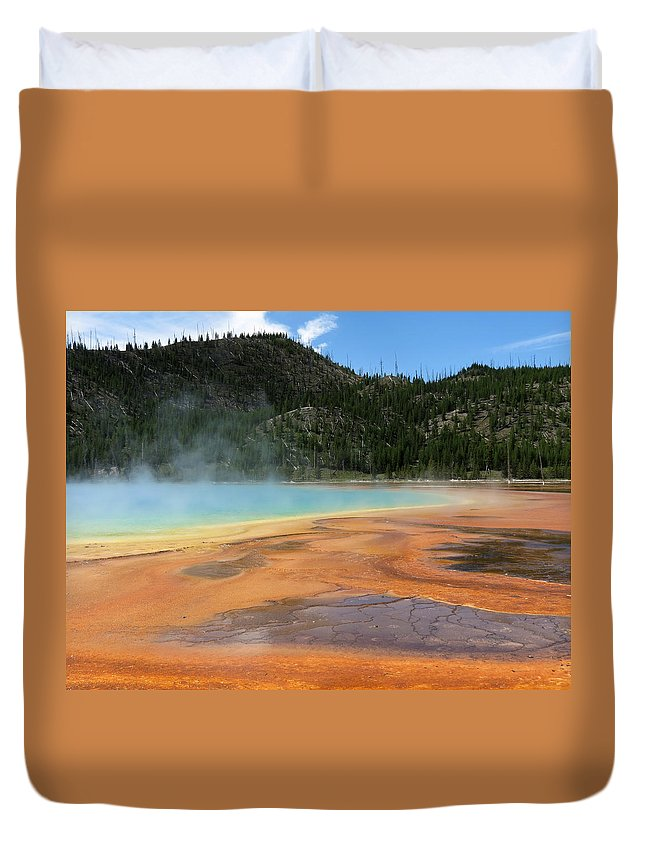 Yellowstone National Park Duvet Cover featuring the photograph Steamy Yellowstone by Laurel Powell