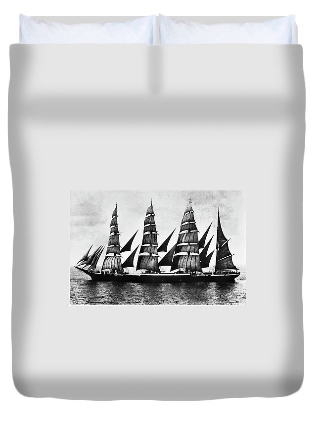 1921 Duvet Cover featuring the photograph Steel Barque, 1921 by Granger