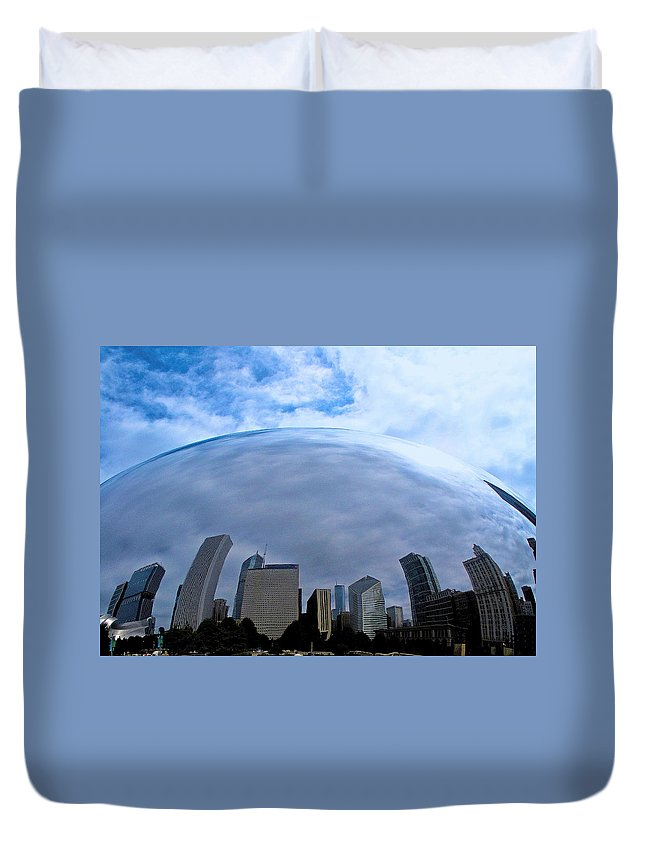 The Bean Duvet Cover featuring the photograph Steel Globe by Zafer Gurel