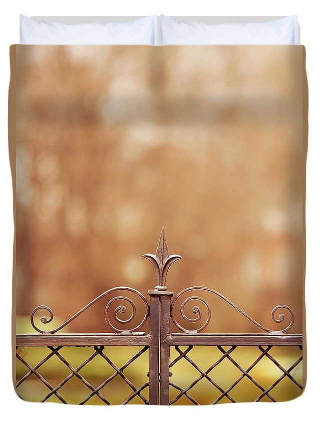 Blaminsky Duvet Cover featuring the photograph Steel Ornamented Fence by Jaroslaw Blaminsky