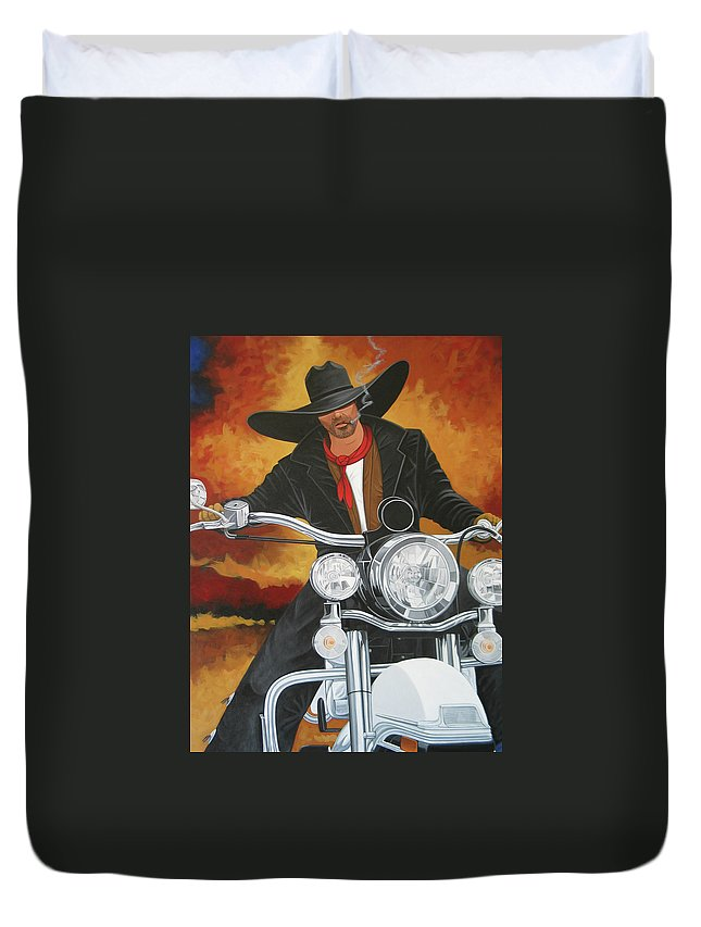 Cowboy On Motorcycle Duvet Cover featuring the painting Steel Pony by Lance Headlee