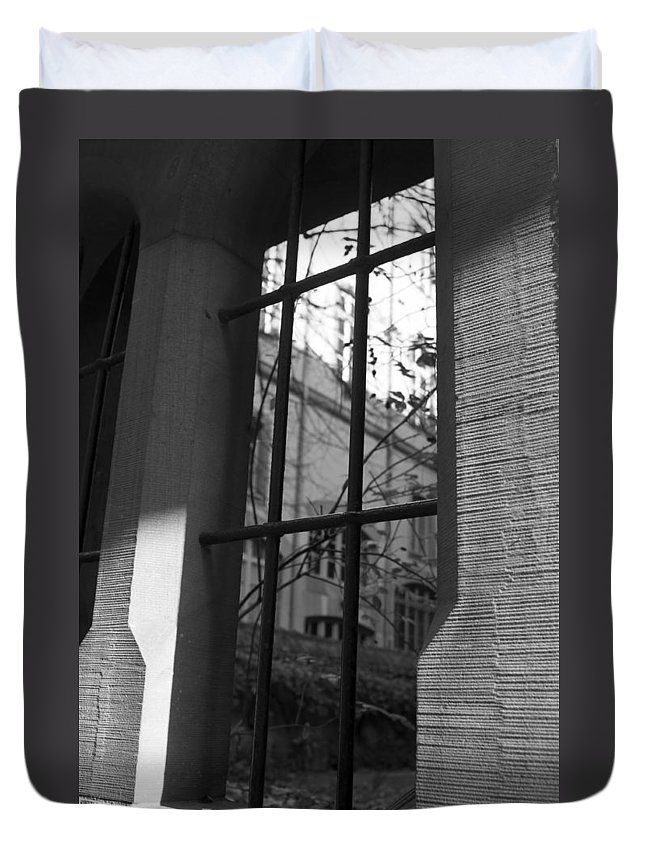 Window Duvet Cover featuring the photograph Steel Window by Miguel Winterpacht