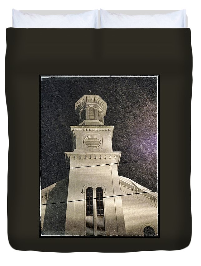 Church Duvet Cover featuring the photograph Steeple In A Snowstorm by David Stone