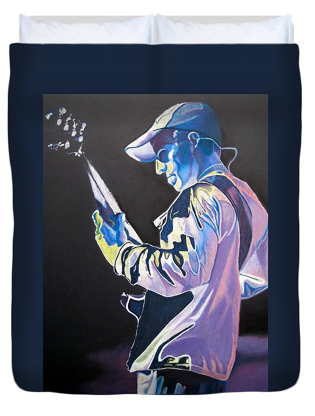 Stefan Lessard Duvet Cover featuring the drawing Stefan Lessard Colorful Full Band Series by Joshua Morton