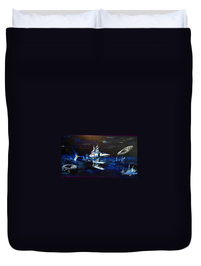 Alien Duvet Cover featuring the painting Stellar Cruiser by Murphy Elliott