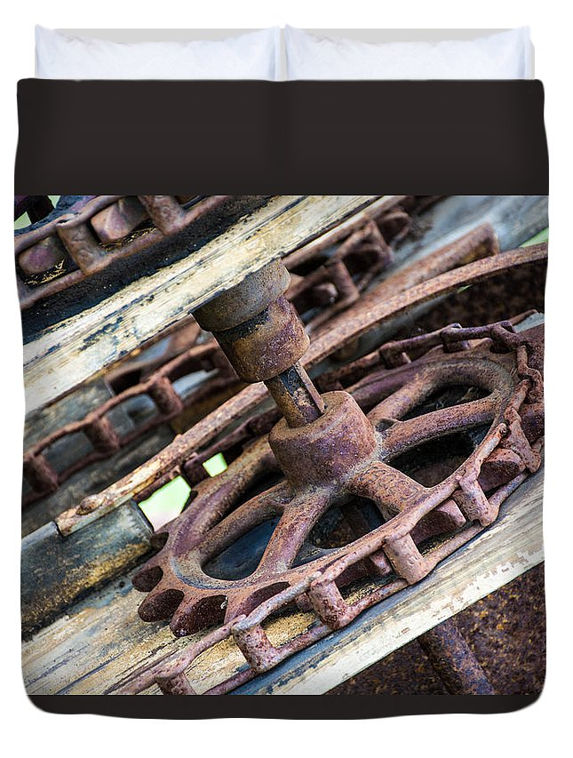 Old Gear Duvet Cover featuring the photograph Step Back In Time by Sherman Perry