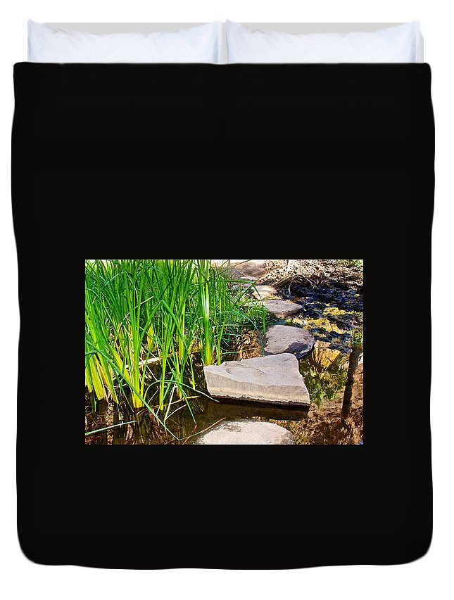 Stepping Stones Across Creek On Lower Palm Canyon Trail In Indian Canyons Near Palm Springs Duvet Cover featuring the photograph Stepping Stones Across Creek On Lower Palm Canyon Trail In Indian Canyons Near Palm Springs-ca by Ruth Hager