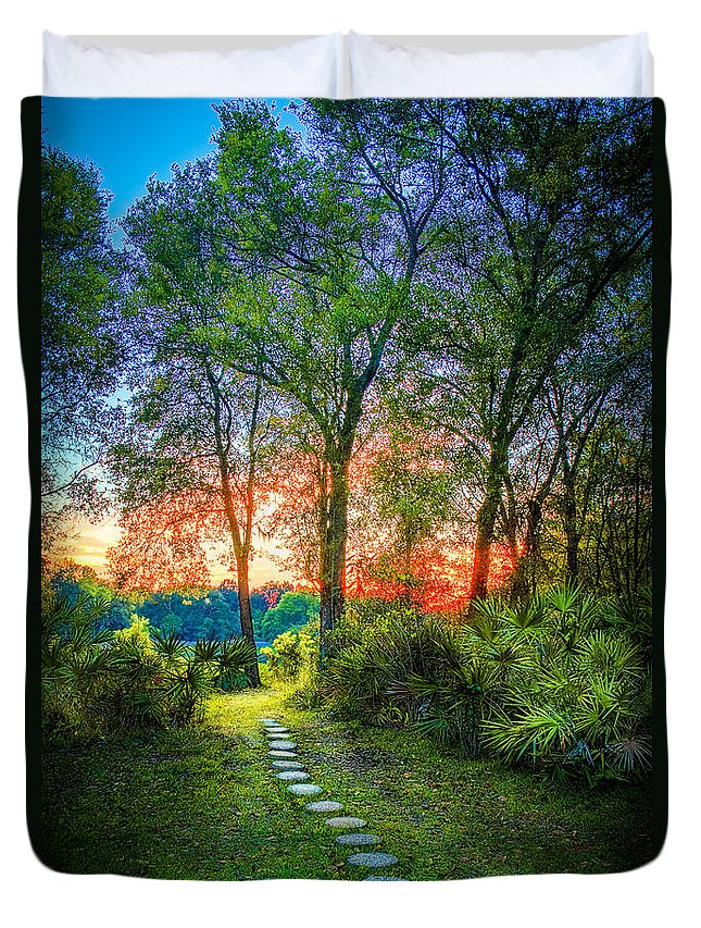 Stepping Stones Duvet Cover featuring the photograph Stepping Stones To The Light by Marvin Spates