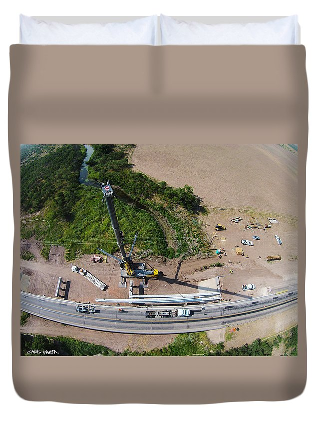 Sterling City Duvet Cover featuring the photograph Sterling City Bridge by Chris Martin