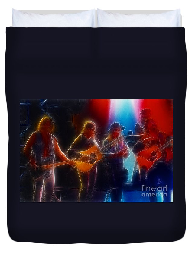 Music Duvet Cover featuring the photograph Steve Miller Band Fractal-1 by Gary Gingrich Galleries