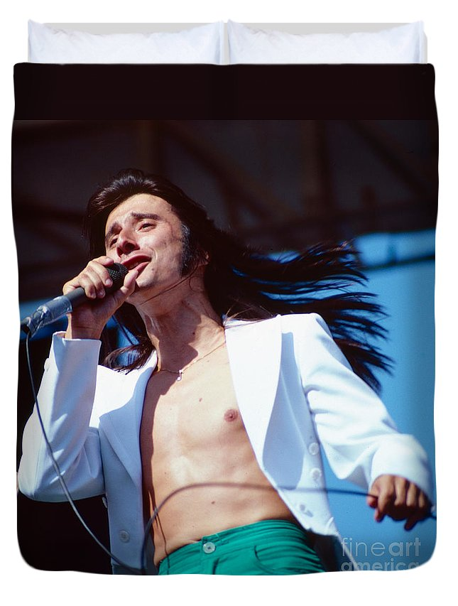 Concert Photos For Sale Duvet Cover featuring the photograph Steve Perry Of Journey At Day On The Green by Daniel Larsen