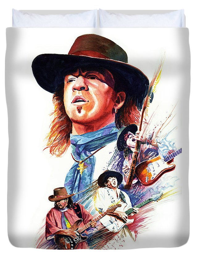Guitarists Duvet Cover featuring the painting Stevie Ray Vaughn by Ken Meyer jr