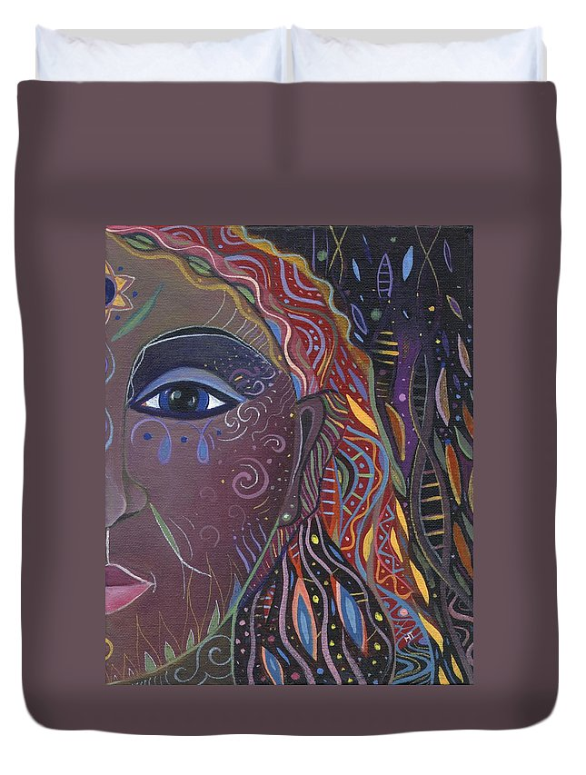 Abstract Duvet Cover featuring the painting Still A Mystery 2 by Helena Tiainen