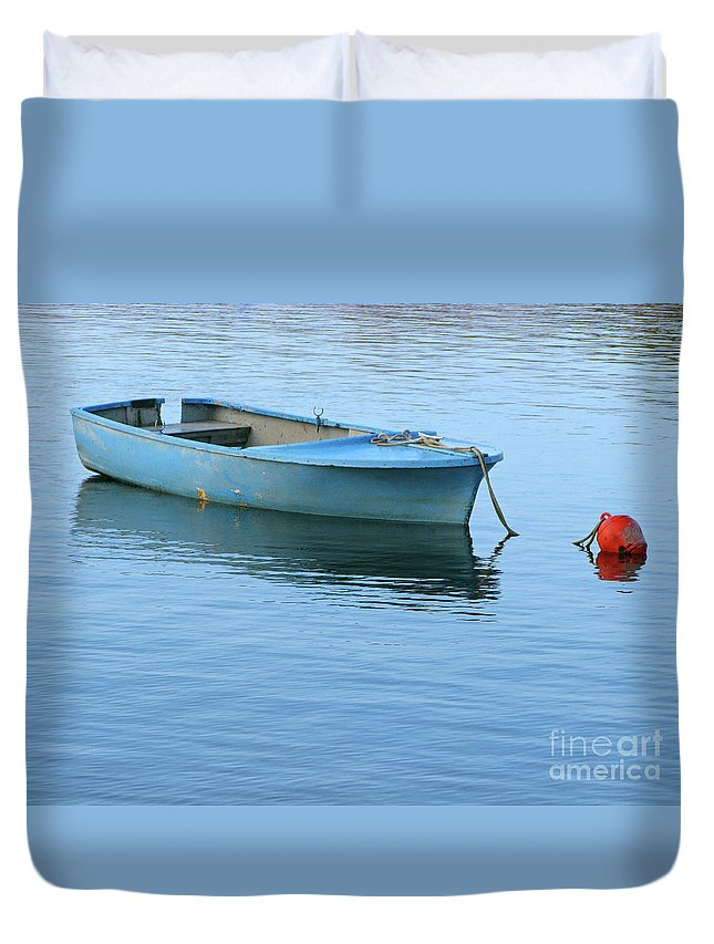 Rowboat Duvet Cover featuring the photograph Still Afloat by Ann Horn