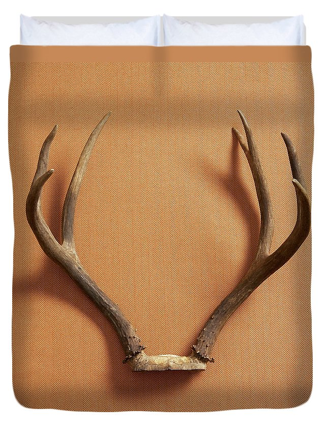 Material Duvet Cover featuring the photograph Still Life Of Deer Antlers On A Fabric by Gwen Rodgers