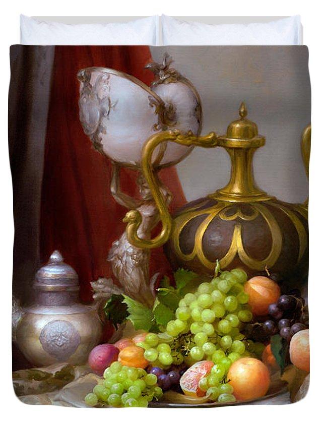Still Life With Dutch Glass Duvet Cover featuring the painting Still-life With A Glass Of Dutch by Sevrukov