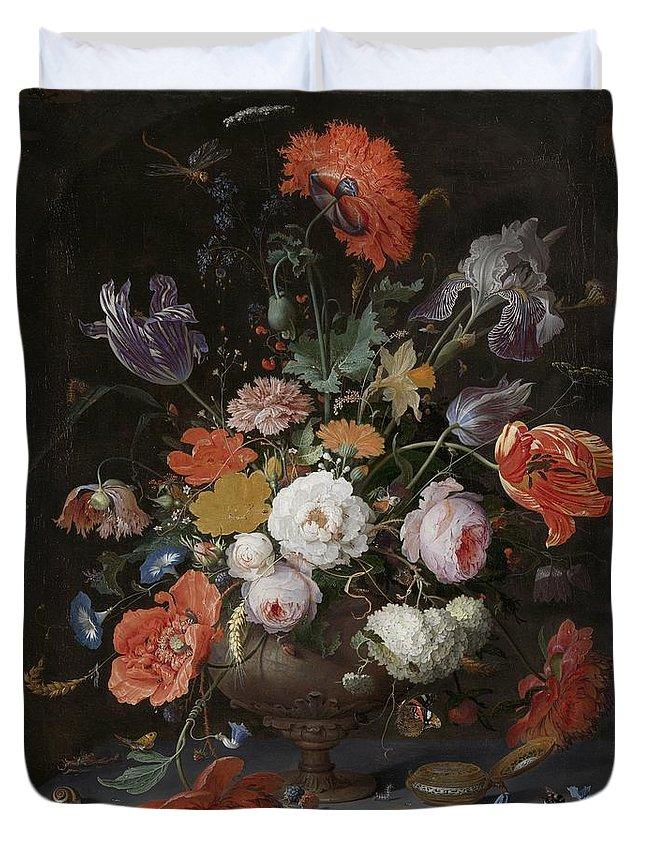 Mignon Duvet Cover featuring the painting Still Life With Flowers And Watch by Abraham Mignon