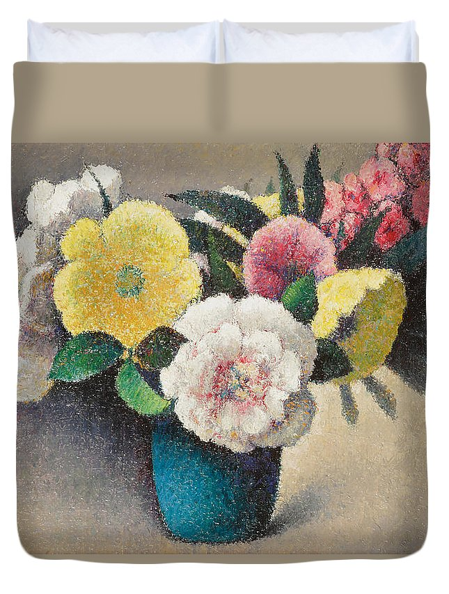 Nature Duvet Cover featuring the painting Still Life With Flowers by Felix Elie Tobeen