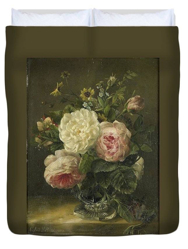 Flowers Duvet Cover featuring the painting Still Life With Flowers by Jacoba van de Sande Bakhuyzen
