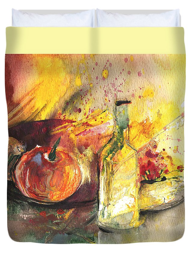 Still Life Duvet Cover featuring the painting Still Life With Fruits And Flowers And Bottle by Miki De Goodaboom