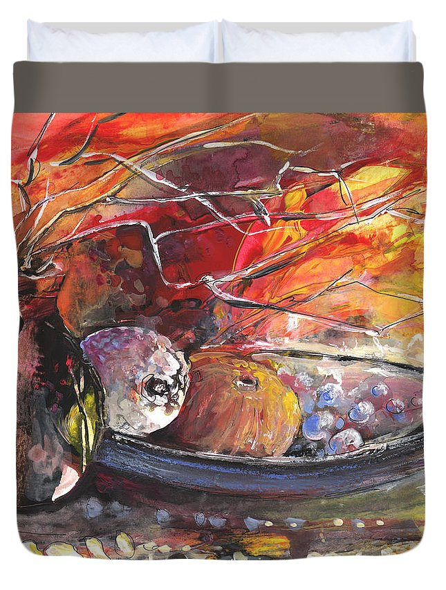 Still Life Duvet Cover featuring the painting Still Life With Fruits And Vase And Dry Branches by Miki De Goodaboom