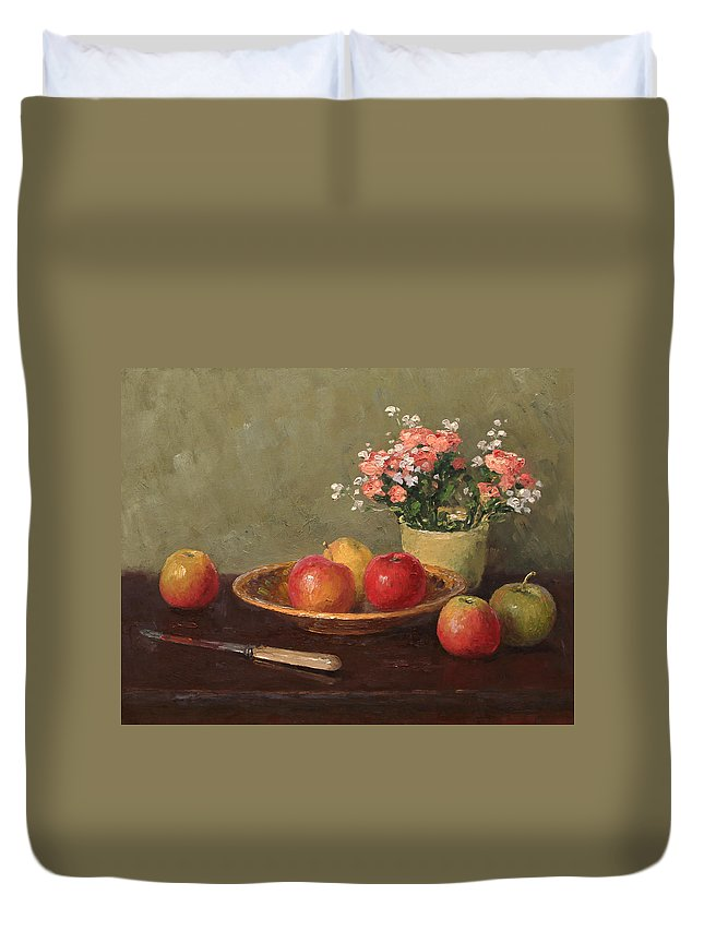 Alexandrovsky Duvet Cover featuring the painting Still Life With Red Apples by Alexander Alexandrovsky
