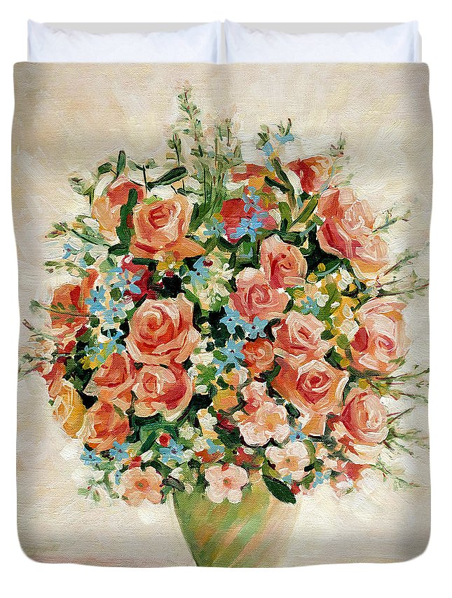 Flowers Duvet Cover featuring the painting Still Life With Roses by Iliyan Bozhanov