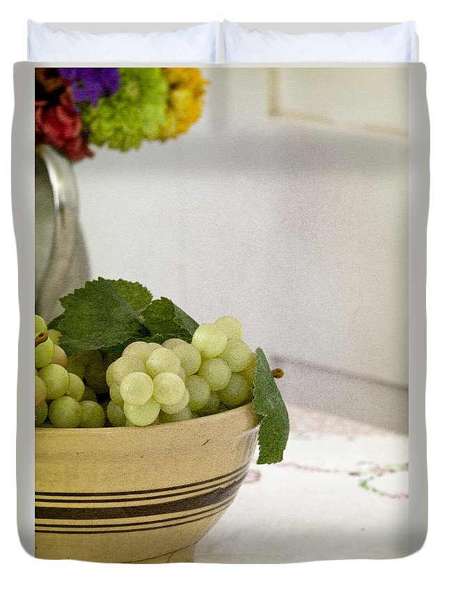 Fruit; Bowl; Flowers; Vase; Still Life; Table; Table Cloth; Bowl Of Fruit; Fresh; Food; Kitchen; Old; Grapes; Leaves; Inside; Indoors; Pitcher Duvet Cover featuring the photograph Still by Margie Hurwich