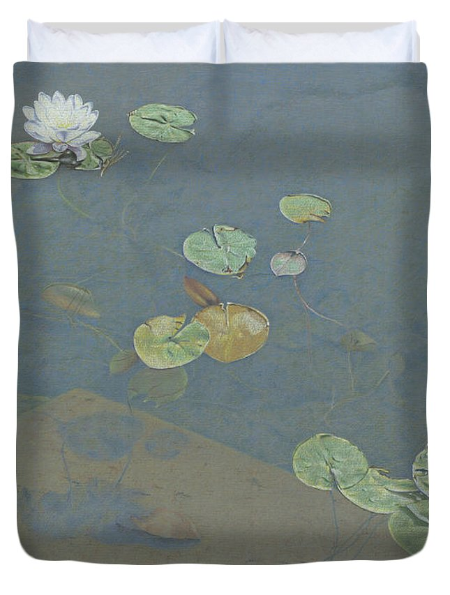 Lily Pad Duvet Cover featuring the drawing Still Water by Clare Douglas
