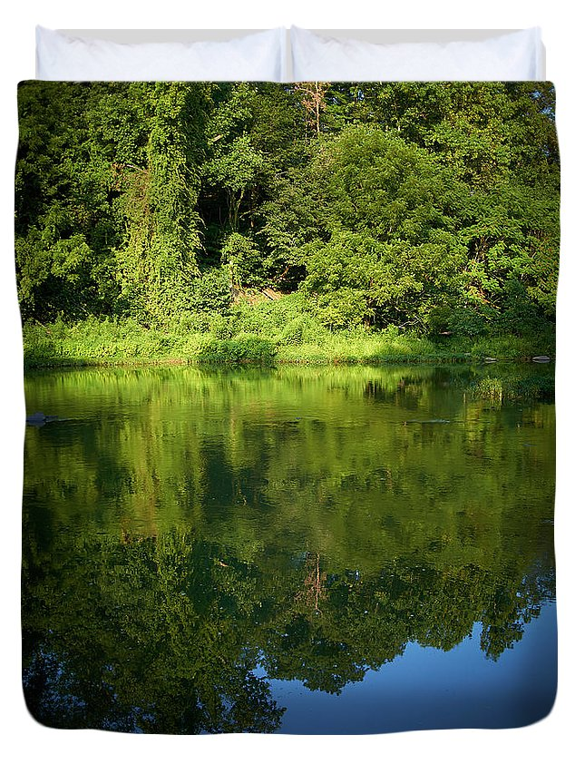 Tranquility Duvet Cover featuring the photograph Still Water On The Potomac River by Cameron Davidson