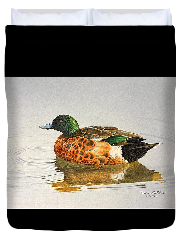 Bird Paintings Duvet Cover featuring the painting Still Waters - Chestnut Teal by Frances McMahon