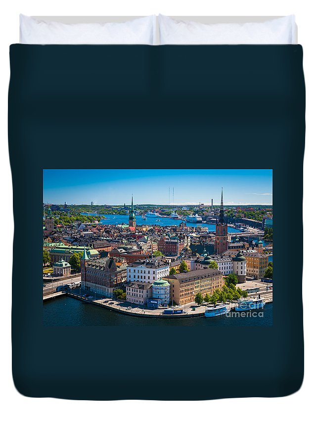 Architectural Duvet Cover featuring the photograph Stockholm From Above by Inge Johnsson