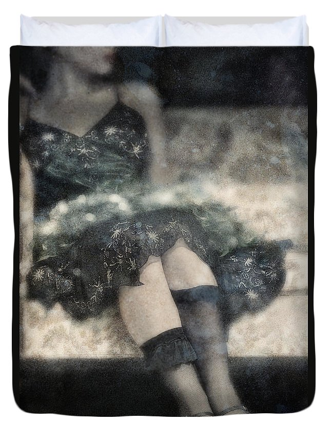 Caucasian; Female; Woman; Lady; Dress; Legs; Feet; Sitting; Couch; Sofa; Vintage; 1920s; 1930s; Body; Torso; Stockings; Nylons; Ankles; Beautiful; Lace; Pretty; Delicate; Prim; Proper; Feminine; Green; Sparkles; Flapper Duvet Cover featuring the photograph Stockings by Margie Hurwich