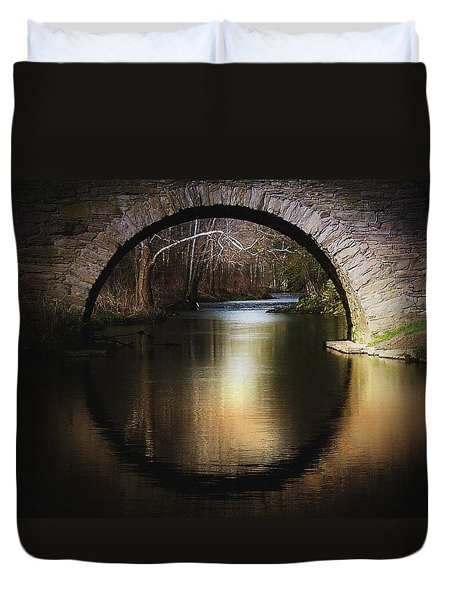 Stone Arch Duvet Cover featuring the photograph Stone Arch Bridge - Brick Texture by Ericamaxine Price