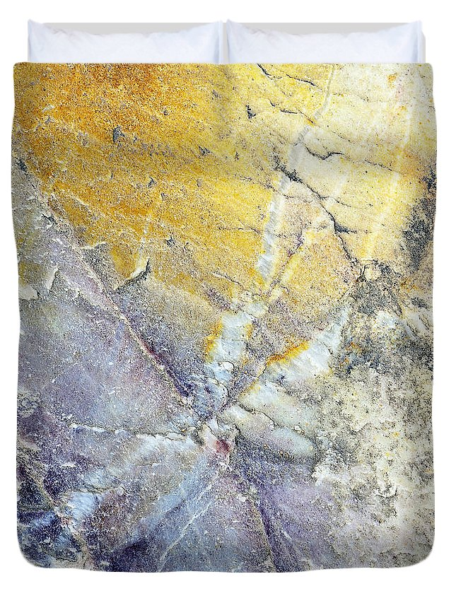 Stone Abstract Duvet Cover featuring the photograph Stone Art by Niteen Kasle