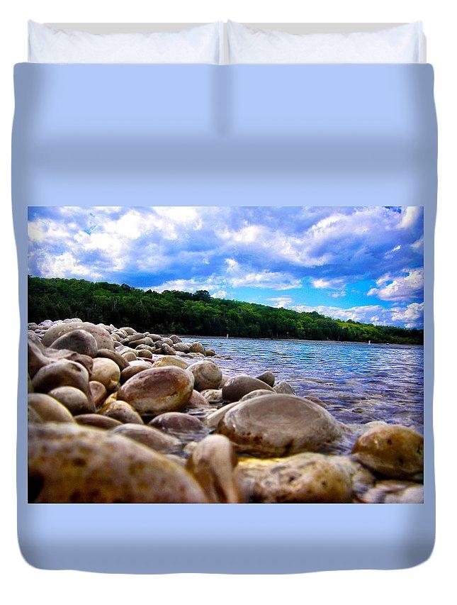 Beach Duvet Cover featuring the photograph Stone Beach by Zafer Gurel