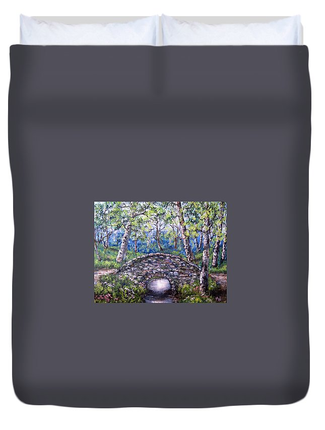 Stone Bridges Duvet Cover featuring the painting Stone Bridge 2 by Megan Walsh