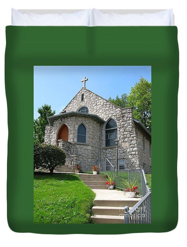Cross Duvet Cover featuring the photograph Stone Church by Ann Horn