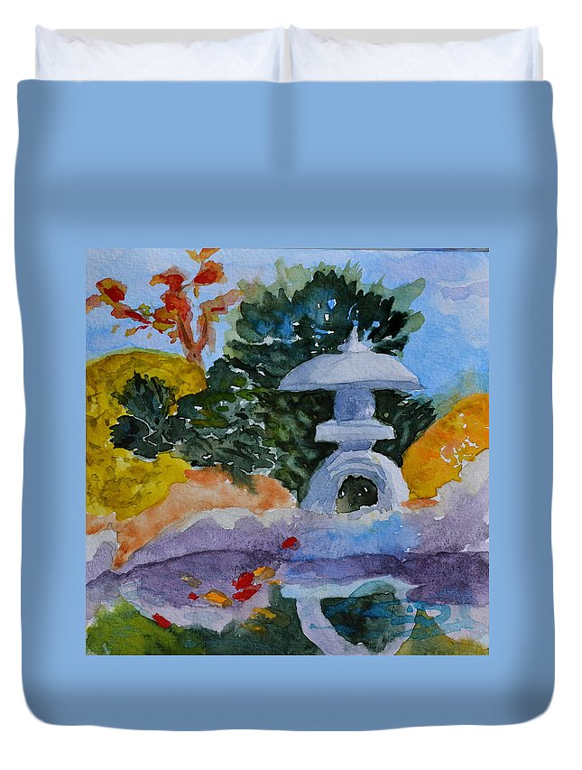 Japanese Duvet Cover featuring the painting Stone Lantern by Beverley Harper Tinsley