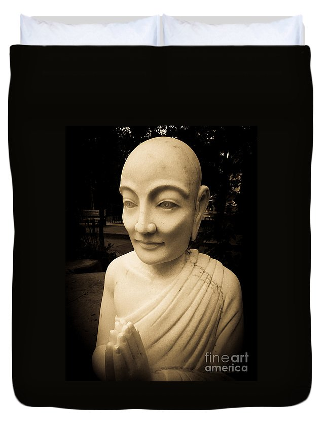 Ancient Duvet Cover featuring the photograph Stone Monk by Angela Wright