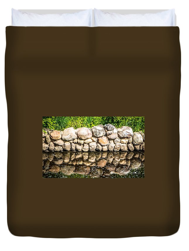 Eaton Rapids Duvet Cover featuring the photograph Stone Wall Reflection by Grace Grogan