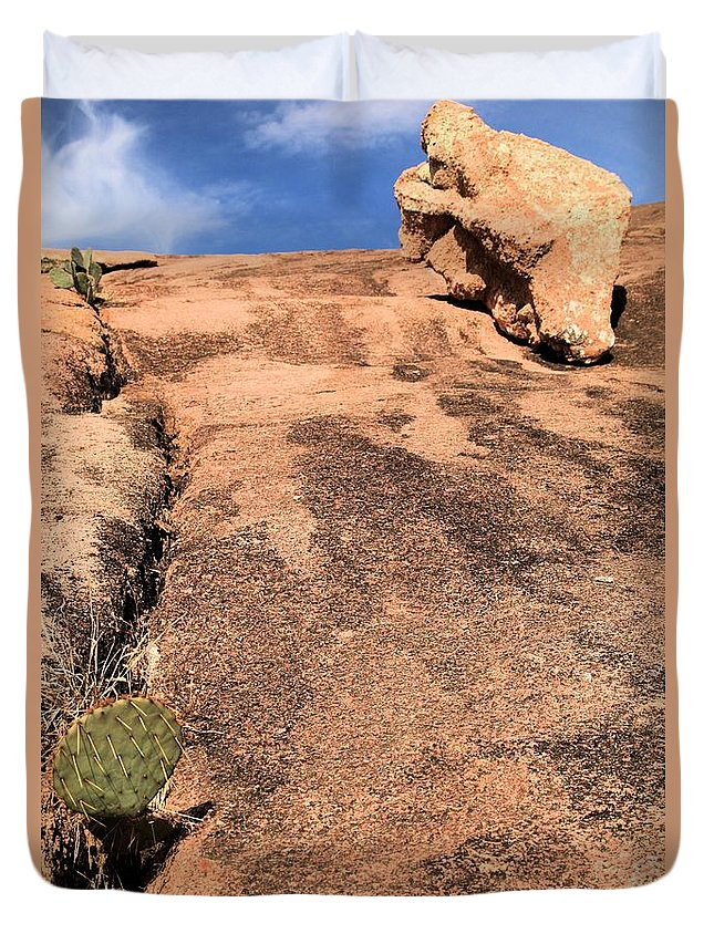 Enchanted Rock Duvet Cover featuring the photograph Stoned Leap Frog by Adam Jewell