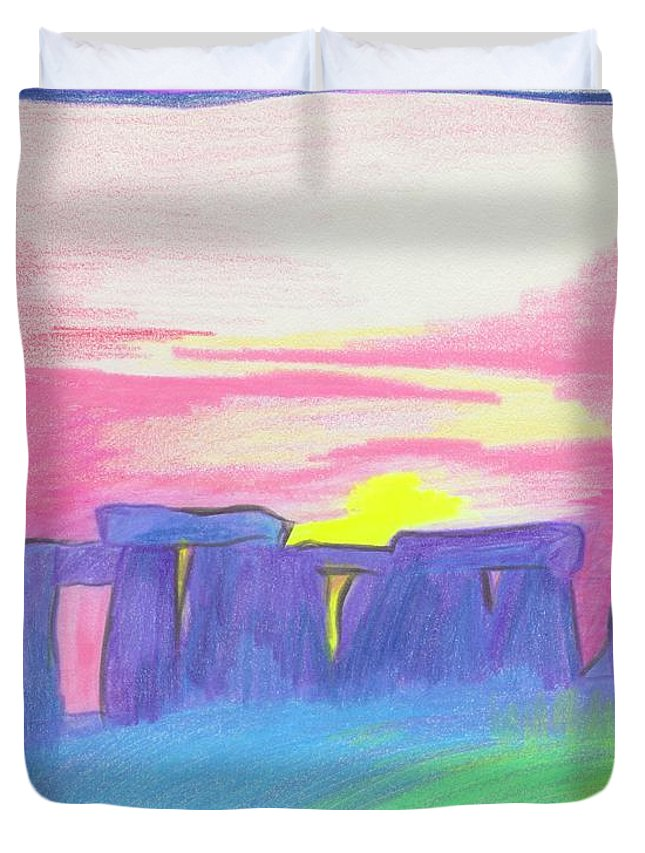 Stonehenge Duvet Cover featuring the drawing Stonehenge by First Star Art