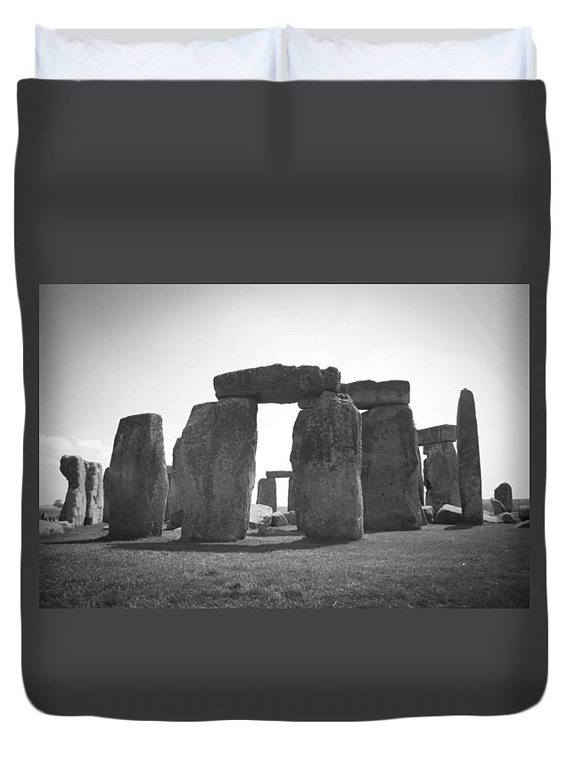 Wiltshire Duvet Cover featuring the photograph Stonehenge In Black And White by Sharon Popek