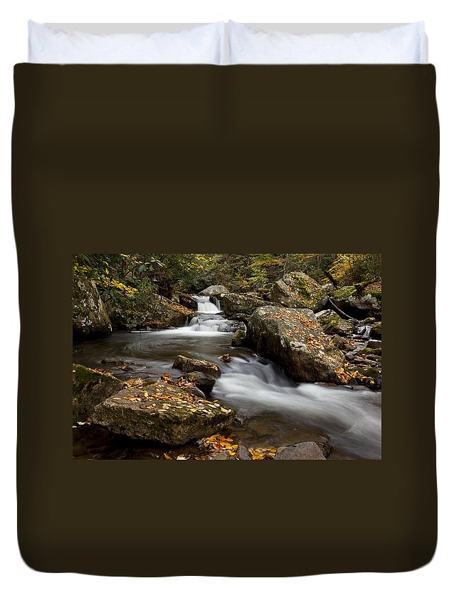 Water Duvet Cover featuring the photograph Stony Creek Falls by Amy Jackson
