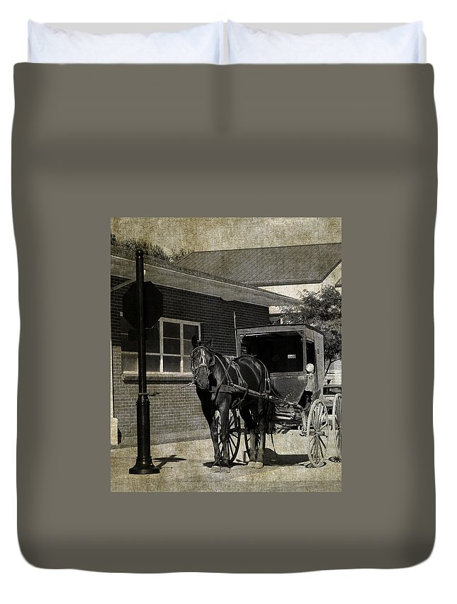 Amish Duvet Cover featuring the photograph Stopped For A Spell In Sepia by Cassie Peters