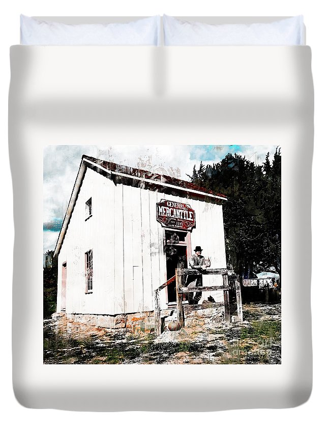 General Mercantile 1851 Duvet Cover featuring the photograph Store - General Mercantile by L Wright